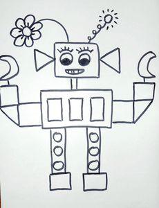 coloriage-gommettes-robot