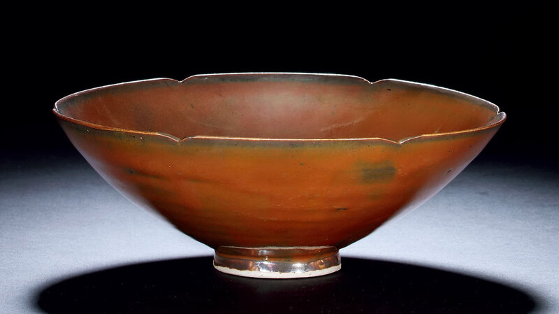 A Dingyao Persimmon-Glazed Foliated Lobed Bowl, Northern Song Dynasty, 10th-12th Century