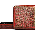 A rare carved cinnabar lacquer 'dragon' square box and cover, wanli yiwei cyclical date, 1595 and of the period
