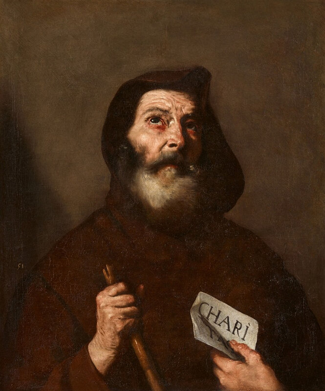 Jusepe de Ribera (1591 Játiva - 1652 Naples), St. Francis of Paola. Oil on canvas (relined). 74.5 x 62 cm. Middle right remains of a signature: J. Old inventory number