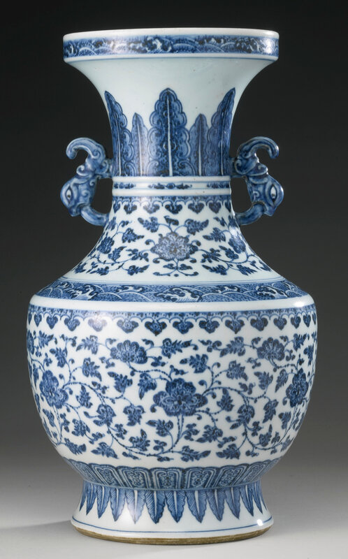 A blue and white archaistic vase, Qing dynasty, 18th century2