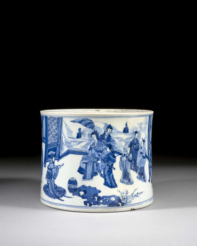 A large blue and white porcelain brush pot, Qing dynasty, Kangxi period (1662-1722)