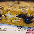 Scone géant potimarron, féta, olives