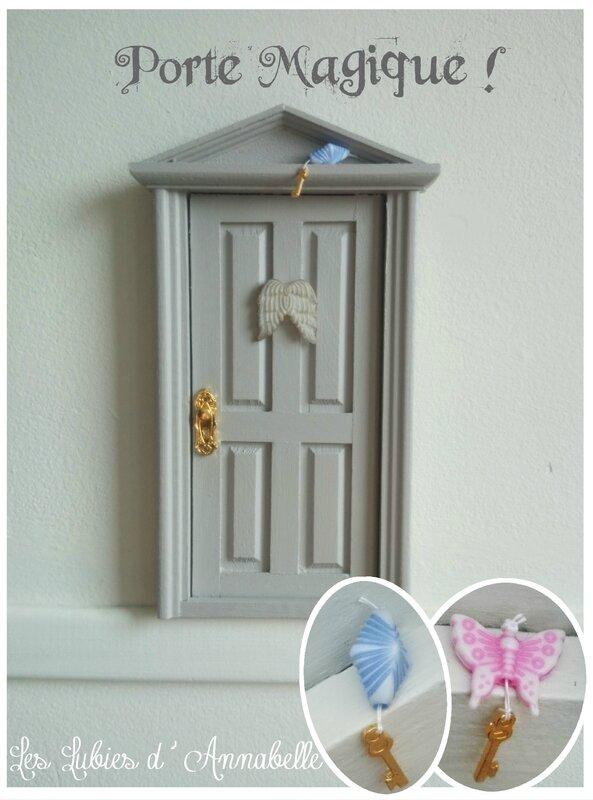 Porte magique miniature de fée lutins petite souris grise