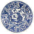 A safavid blue and white dish, persia, 18th century
