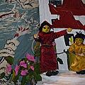 Les deux enfants vont au temple