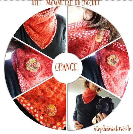 tuto crochet, tour de cou orange