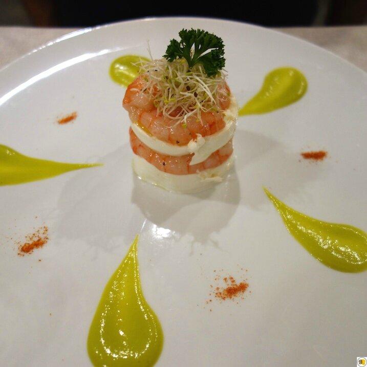 Mozzarella de bufala Campana, crevettes crues sur sauce au brocoli (3)
