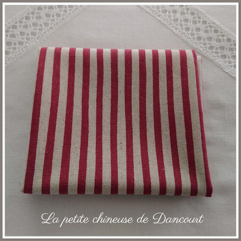 Coupon de tissus métis rayé rouge la petite chineuse de dancourt