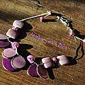 Collier ivoire vegetal graine de tagua coton réfcot1165b