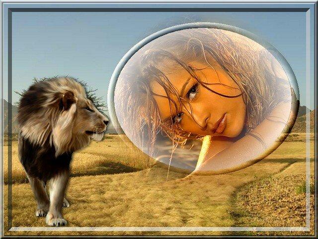 lion et visage