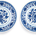 A pair of blue and white 'lotus bouquet' small dishes, seal marks and period of daoguang (1821-1850)