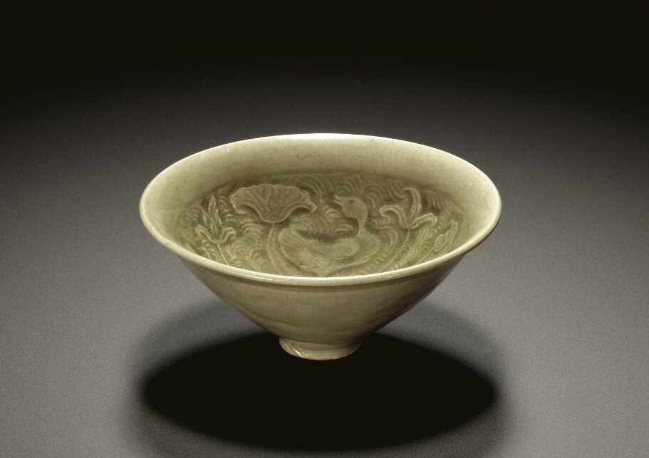 A 'Yaozhou' carved celadon 'Lotus pond' bowl, Northern Song dynasty