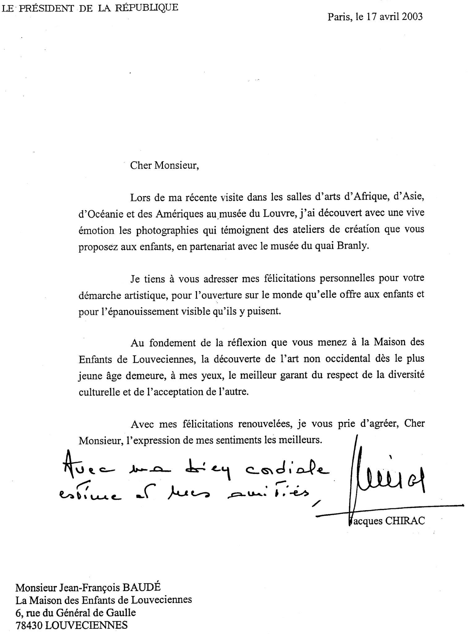 Lettre Du Pr U00e9sident Jacques Chirac - Album Photos