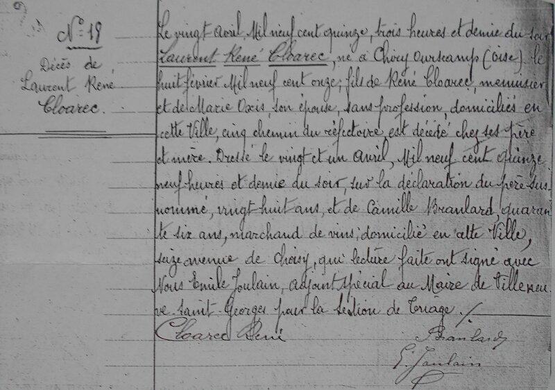1915 le 20 avril décès de Laurent René Cloarec à Villeneuve Saint-Georges