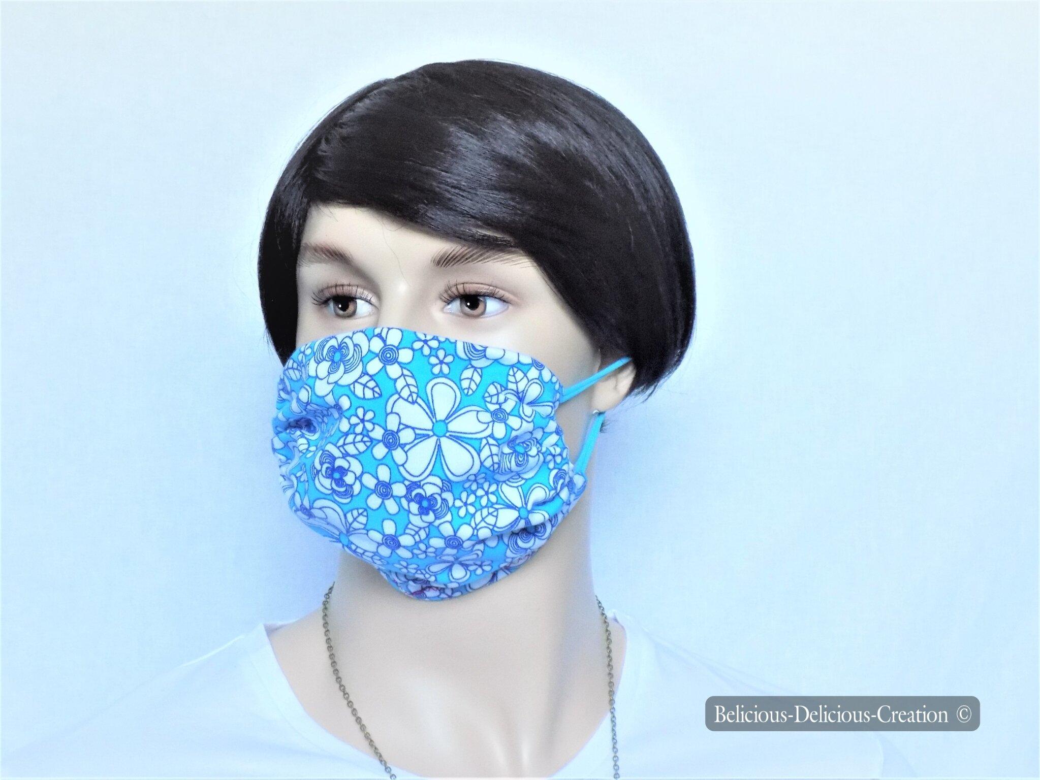 original Masque,Protection visage en tissu !! FLOWER POWER !! bleu en Coton Jersey Stretch T:20cm wide, Long 21cm belicious