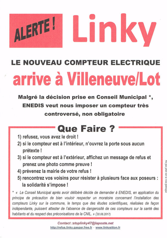 Alerte Linky Villeneuve Sur Lot