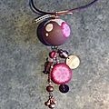 Collier boule rose et brun