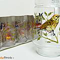 Vaisselle vintage ... pichet et verres décorés * oiseaux