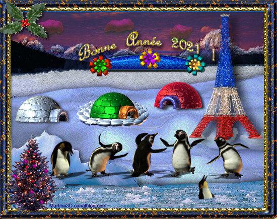 2021-carte-voeux-bonne-année-igloo-tour-eiffel-pingouins