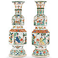 A pair of famille verte hexagonal vases, kangxi peiod, circa 1720