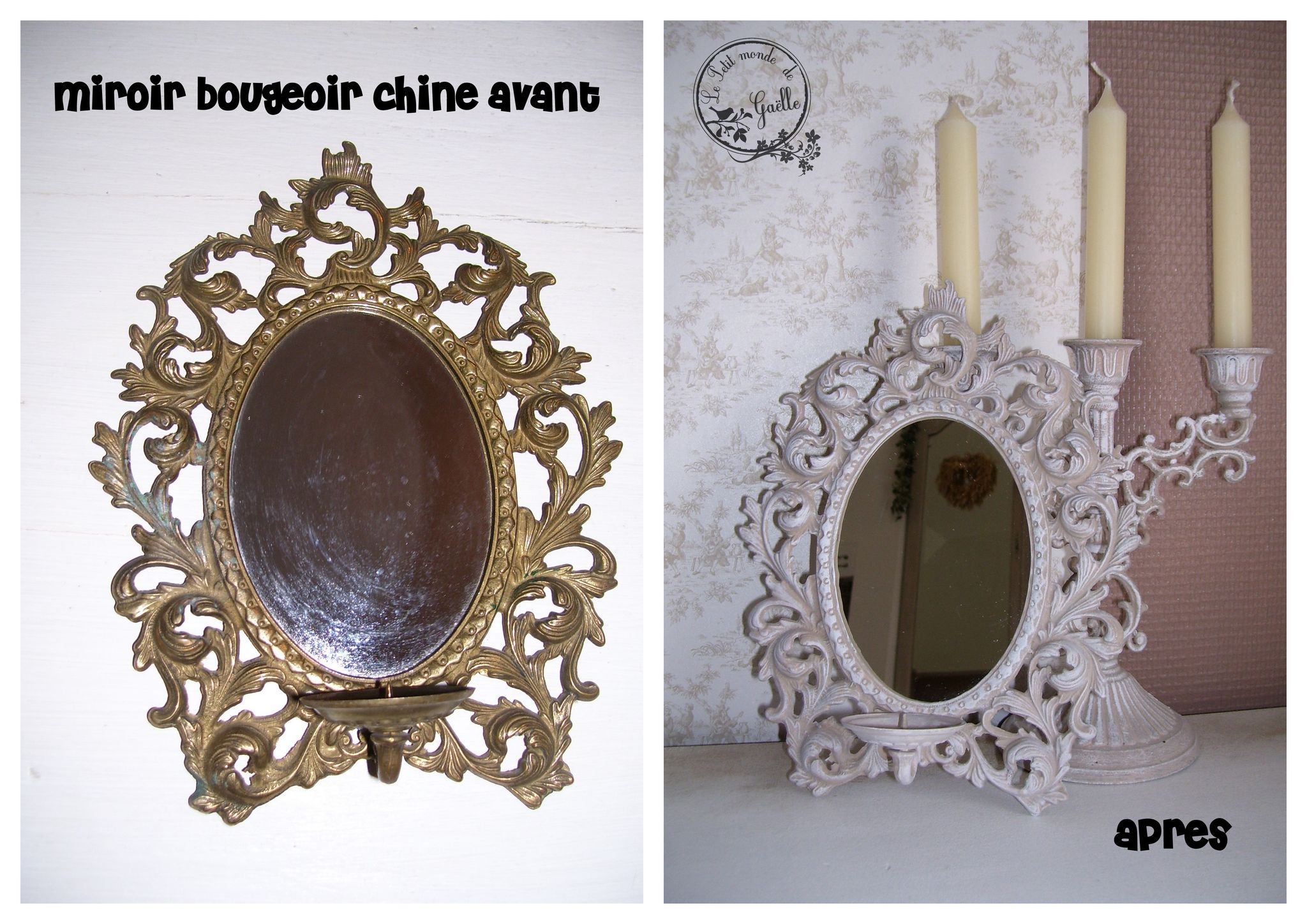 Transformation d'un miroir-bougeoir chiné...