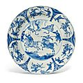 A Chinese blue and white 'Equestrian' dish, Kangxi period (1662-1722)
