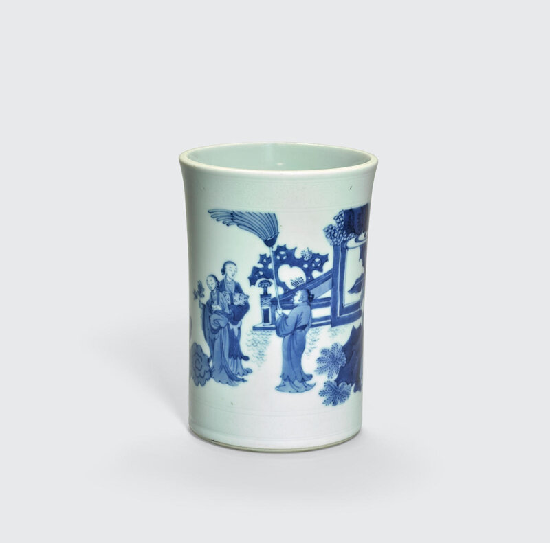 A blue and white porcelain brush pot, Transitional period