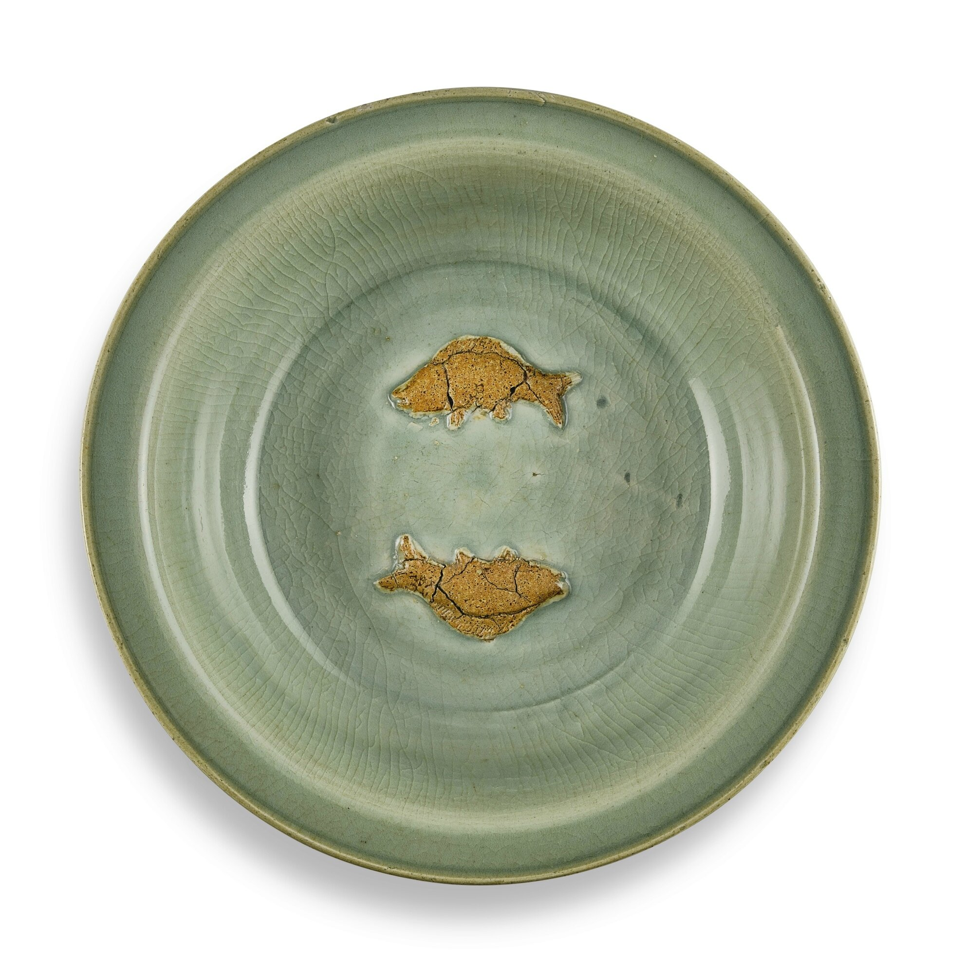 A large biscuit-decorated Longquan celadon 'Twin fish' basin, Yuan – early Ming dynasty