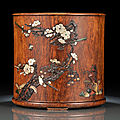 A fine huanghuali cylindrical brushpot, 17th-18th century