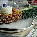 Filets de poulet à l'aigre-douce aux ananas et riz au jasmin....
