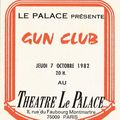 The gun club - jeudi 7 octobre 1982 - le palace, paris