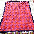 #tricot : couverture façon tissage, plaid nautique mes création tricot facile