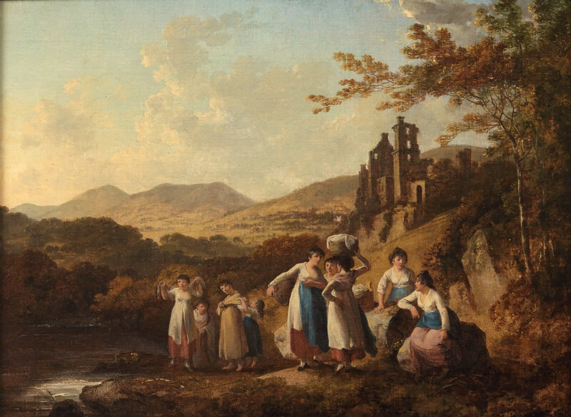 Mitchell-John-Mitchell-Fine-Paintings-Julius-Caesar-Ibbetson-View-of-Roslin-Castle-with-Washerwomen-by-the-River-North-Esk-LAW19W-2