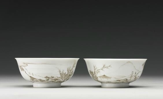 A pair of grisaille 'landscape' bowls, marks and period of Yongzheng
