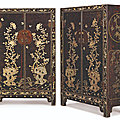 A pair of rare large mother-of-pearl-inlaid lacquer cabinets, ming dynasty, 16th century