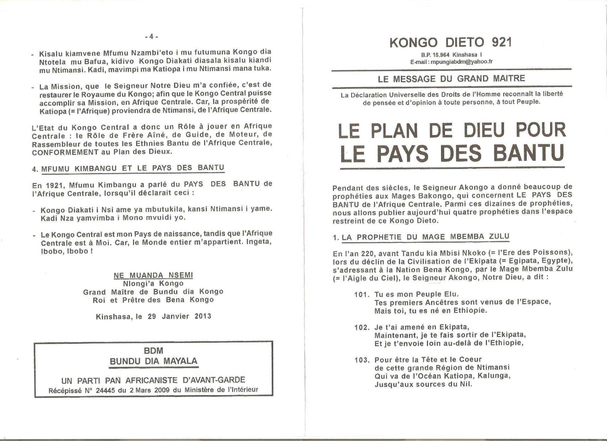 LE PLAN DE DIEU POUR LE PAYS DES BANTU 1