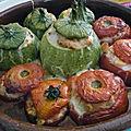 Legumes farcis au poulet et petits legumes