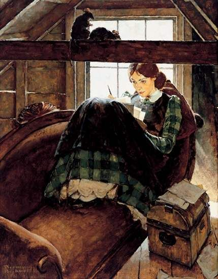 Jo_Seated_on_the_Old_Sofa_by_Norman_Rockwell__1937