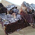 Double chocolate brownies with cherries and salted butterscotch