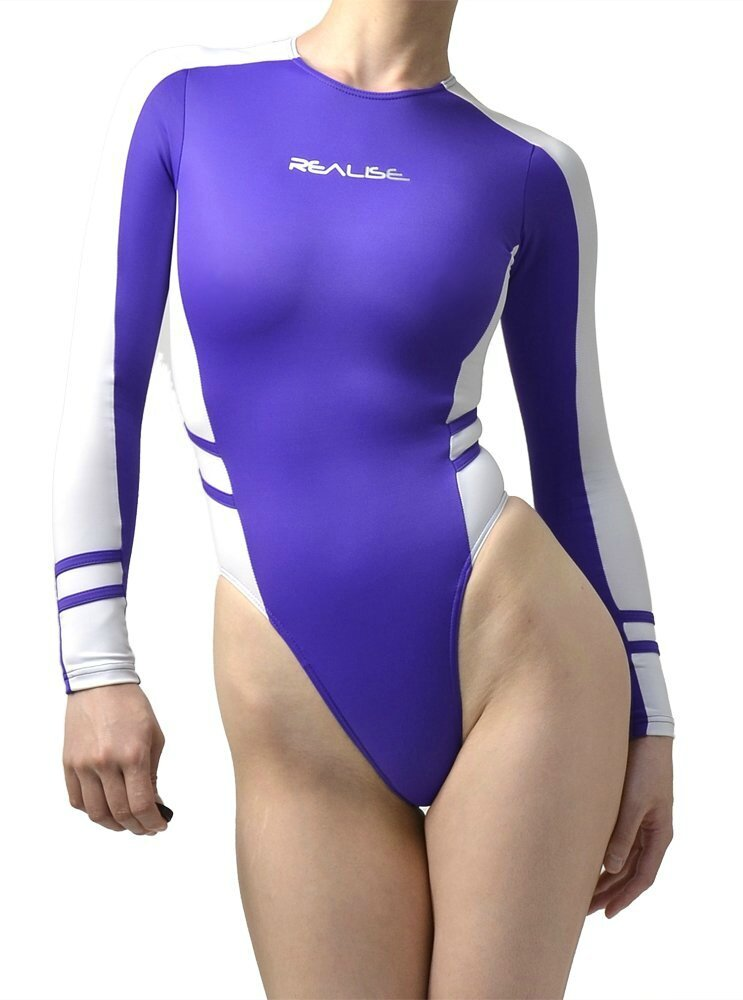 highleg long-sleeved swimsuits n-015 purple & wite Side 1