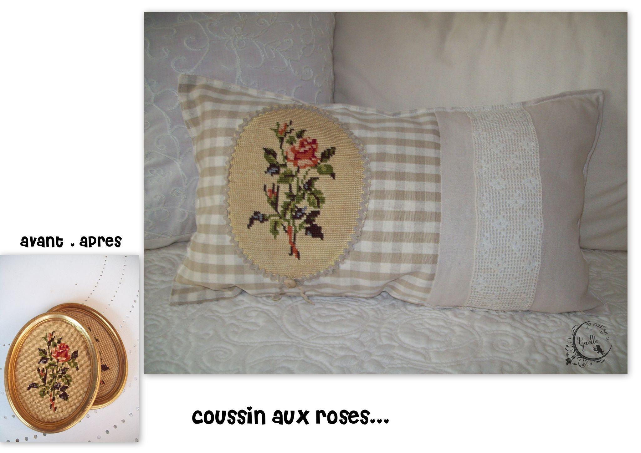 Coussin aux roses (à partir d'un canevas chiné)