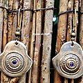 Bo302 - boucles d'oreille ethniques en bronze et zircons