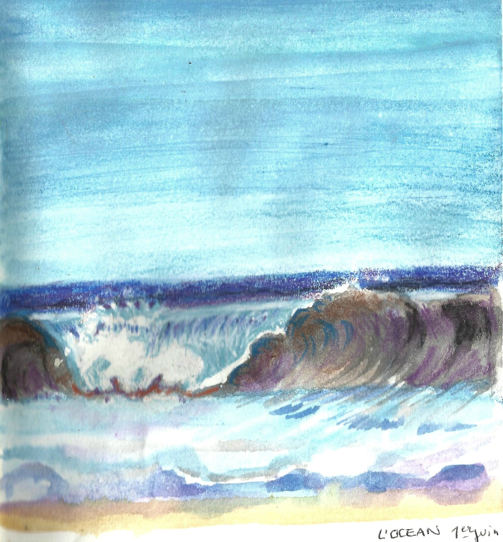 aquarelle la vague