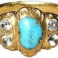 Ring, italy?, 16th-early 17th century, gold, turquoise and rock crystals.