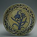 Blue-and-white plate with the design of blue plants against yellow background, Xuande period (1426-1435)