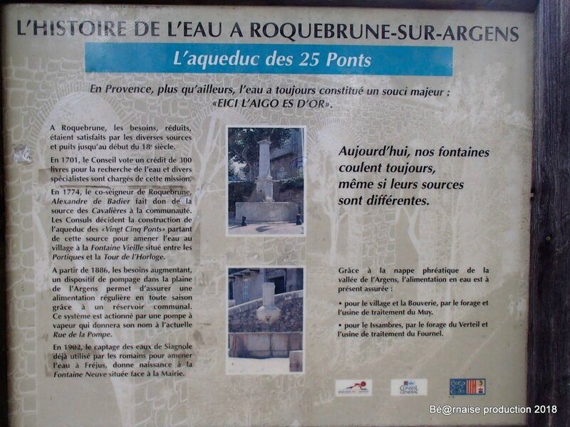 Pancarte pour les 25 ponts de Roquebrune-sur-Argens