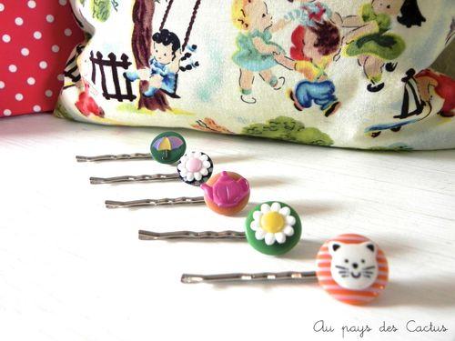 Barrettes enfant boutons chat fleur parapluie theiere Au pays des Cactus