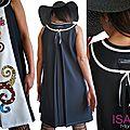 Robe trapèze Chasuble Noire blanc cassé et Multicolore Couture tendance 2015 Fantaisie et originale