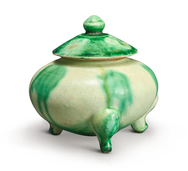 A green-splashed tripod censer and cover, Tang-Five Dynasties